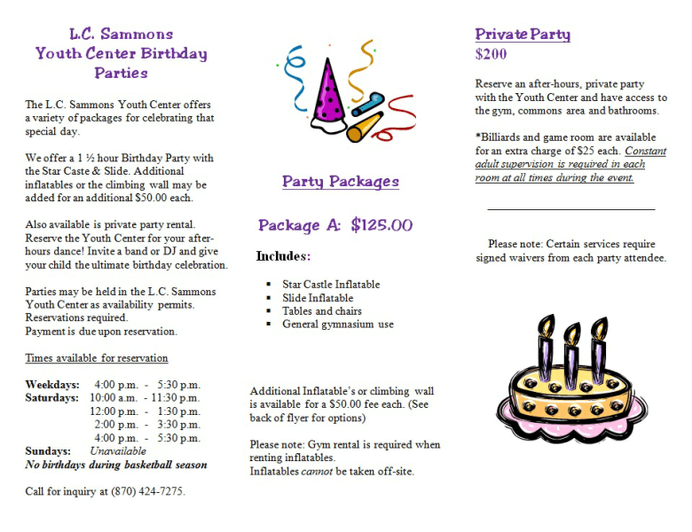 L.C. Sammons Youth Center Birthday Party packages